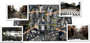 図1:新宿副都心の実験エリア(出典Google Earth) / Figure 1: Area of field experiments in Shinjuku, Tokyo (Copyright of Google Earth)